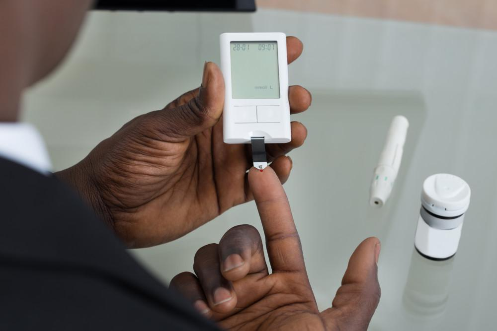 diabetic patient checking insulin levels