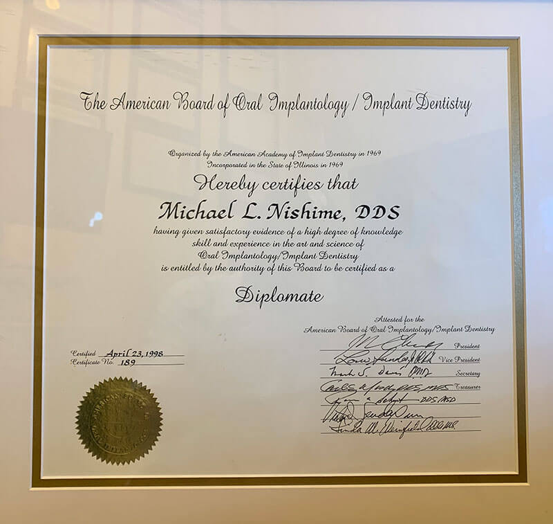Implant Dentistry Certification