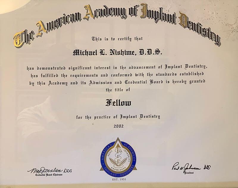 Dr. Nishime Implant Certification